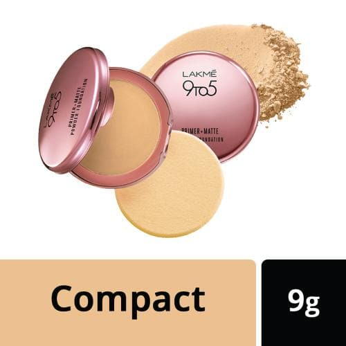 Lakme 9 to 5 Primer + Matte Powder Foundation Compact, Ivory Cream, 9 g