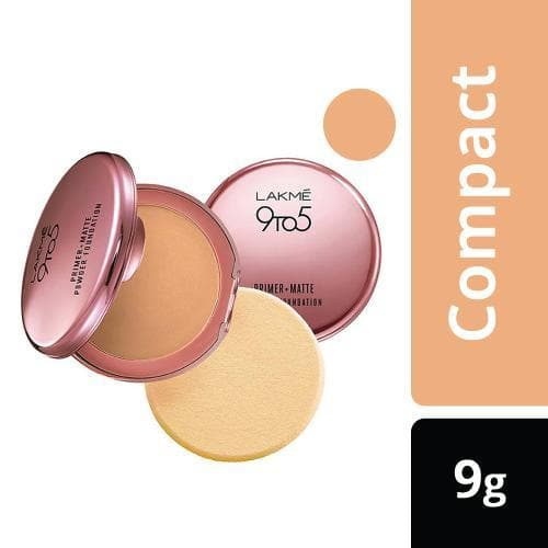Lakme 9 to 5 Primer + Matte Powder Foundation Compact, Rose Silk, 9 g