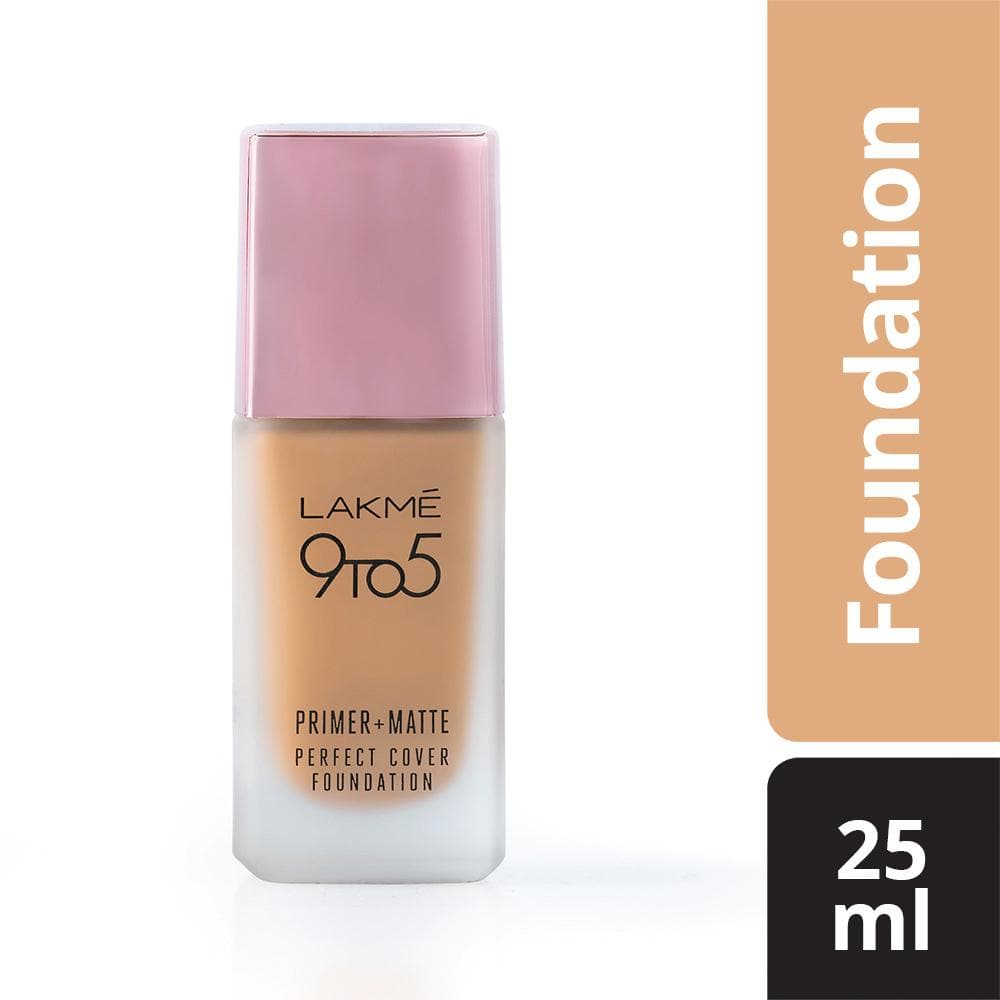 Lakme 9To5 Primer + Matte Perfect Cover Foundation, W180 Warm Natural,  Lakme Salon