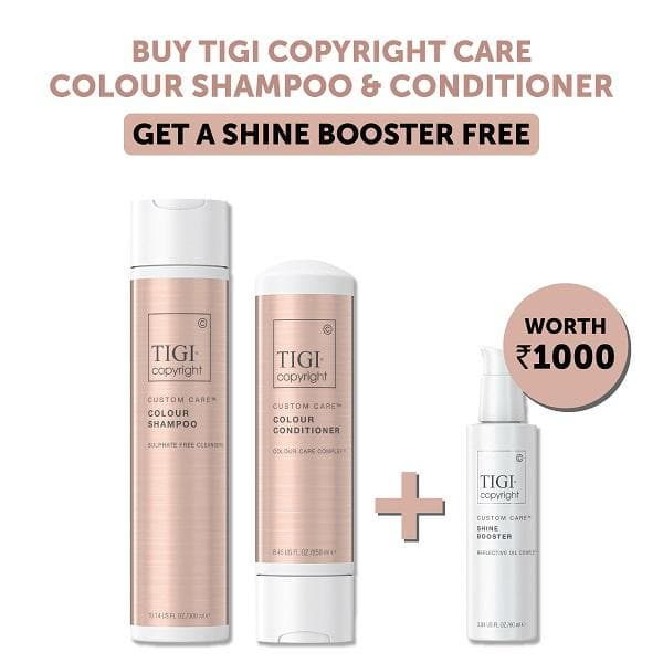 TIGI Copyright Custom Care™ Colour Shampoo 300Ml + Conditioner 250Ml, Get Free Shine Booster, 90Ml