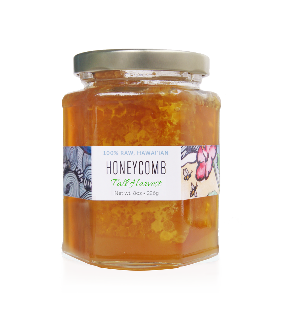 raw hawaiian honeycomb with honey