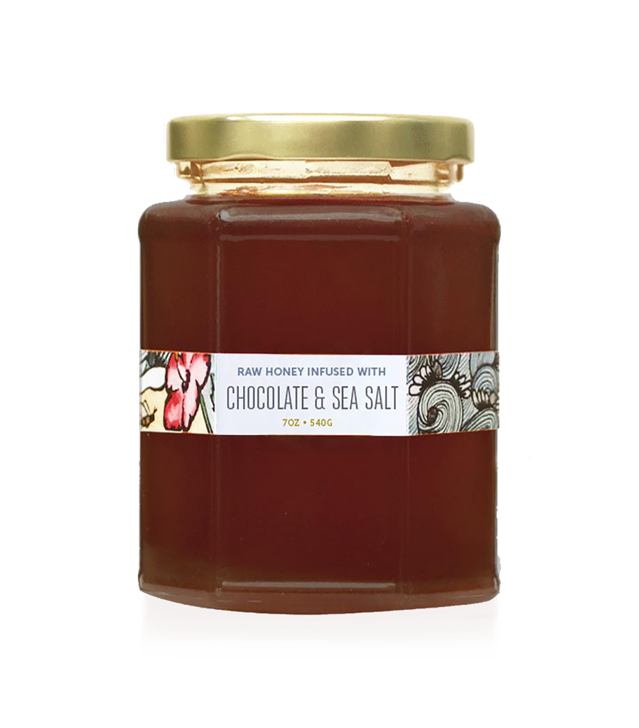 chocolate and sea salt infused raw honey