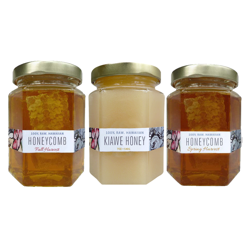 raw hawaiian honey, christmas berry, kiawe and spring harvest