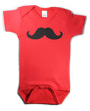 Mustache Funny Baby Hipster One Piece Bodysuit Creeper Red w/ Black