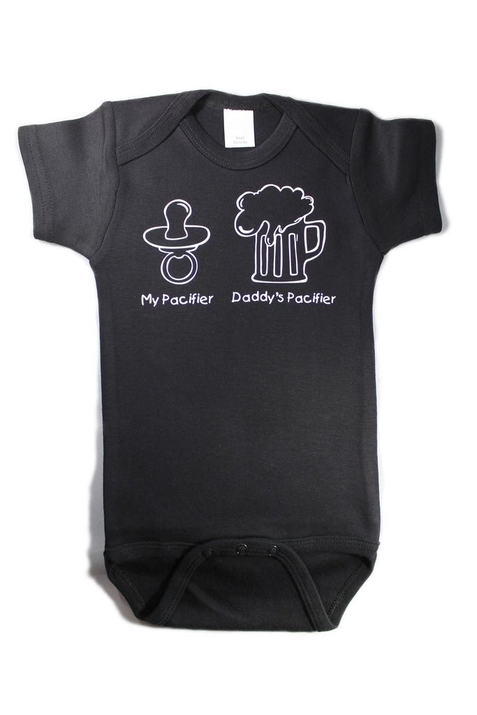 My Pacifier Daddy's Pacifier Funny Baby One Piece Bodysuit Creeper Black w/White