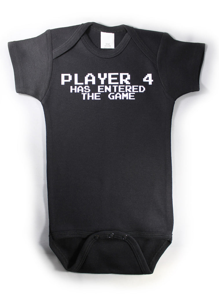 Player 4 Funny Baby Bodysuit Creeper Black w/ White