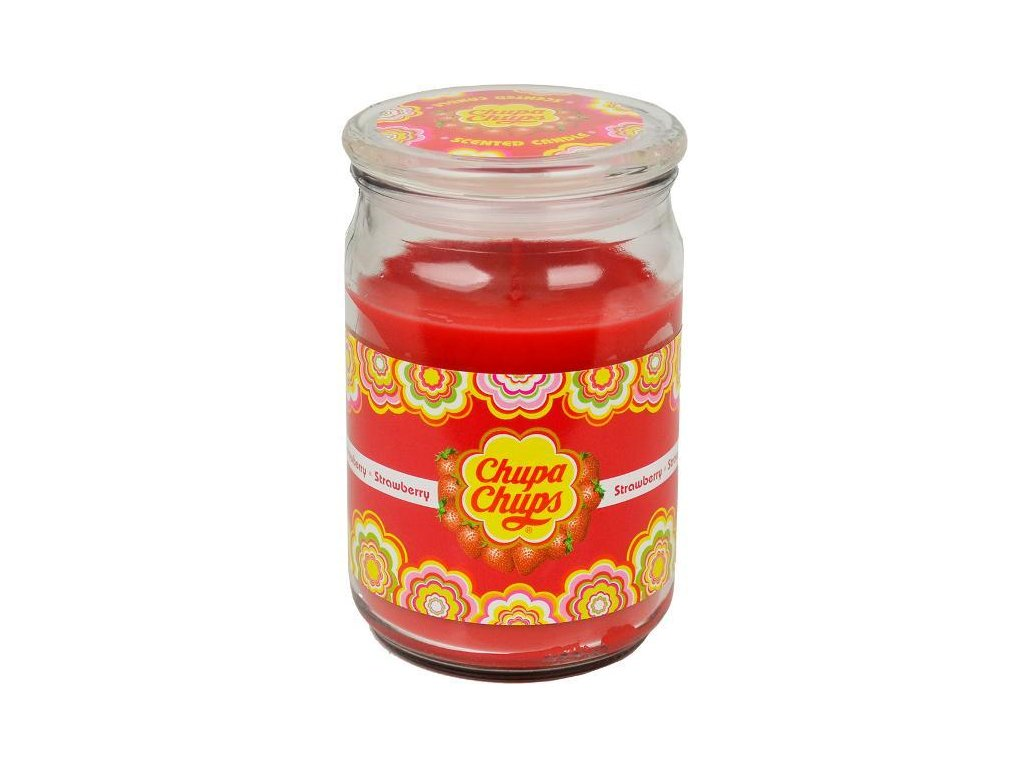 Chupa Chups Large Jar Strawberry Candle 453g - Old Town Sweet Shop