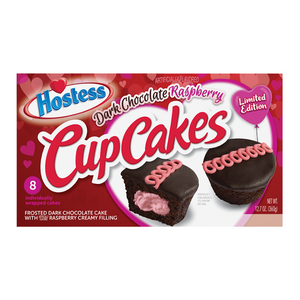 Hostess Valentines Cup Cakes Dark Chocolate Raspberry 8-Pack - 12.7oz (360g) - Old Town Sweet Shop