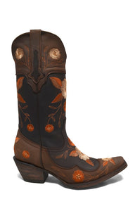 Women's Vintage Brown Cowgirl Western Leather Boots REDHAWK 37012