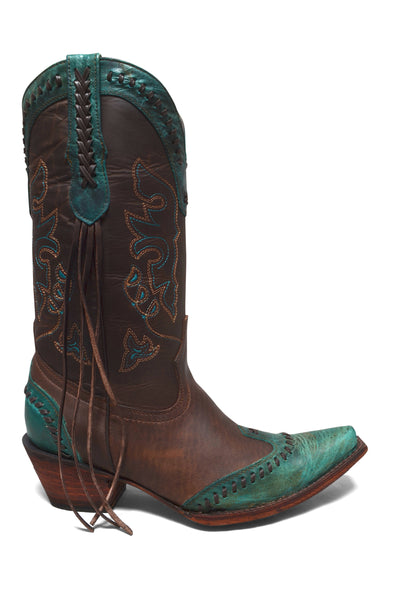 Women's Turquoise Cowgirl Western Leather Boots REDHAWK 37106