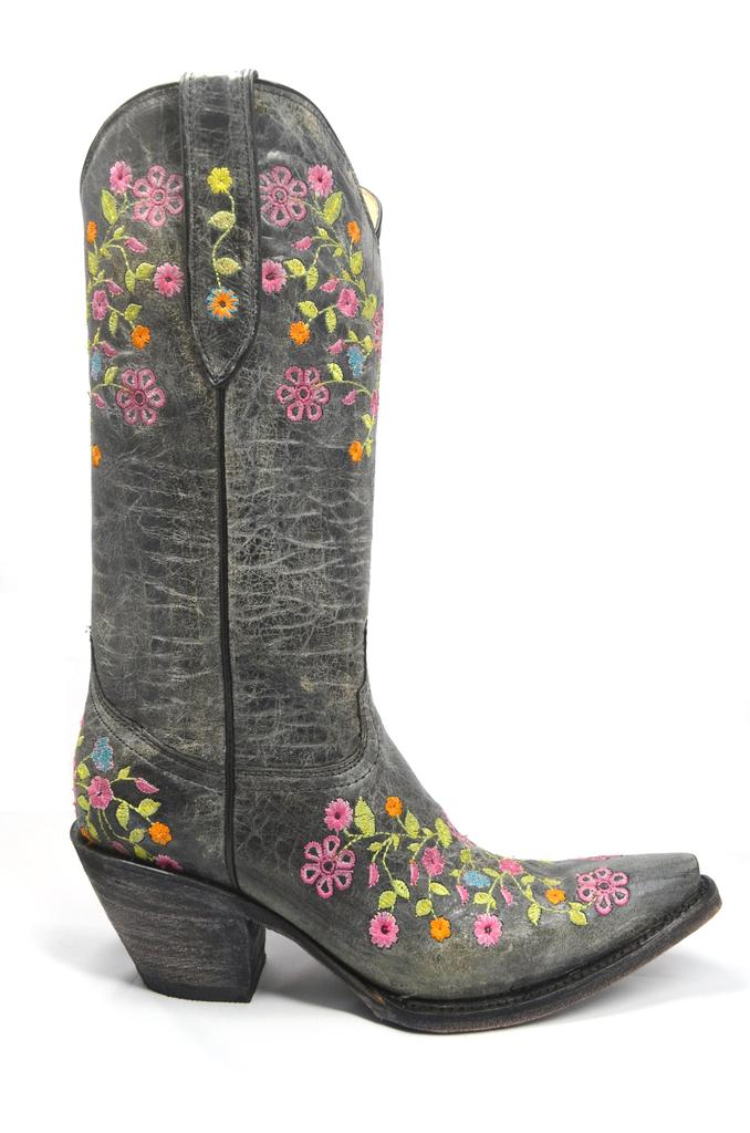 Women's Crater Black Cowgirl Western Leather Boot REDHAWK 37102