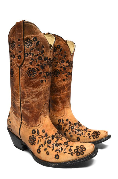 Women's Brown Mustard Cowgirl Western Leather Boot REDHAWK 37107