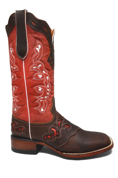 Women's Salmon Cowgirl Western Rodeo Leather Boots REDHAWK 5200
