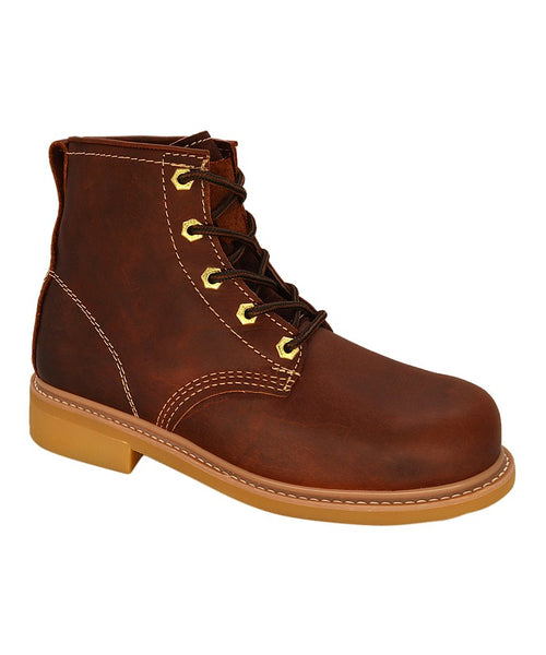 "Burgundy 6"" Plain Toe Leather Work Boot REDHAWK 614"
