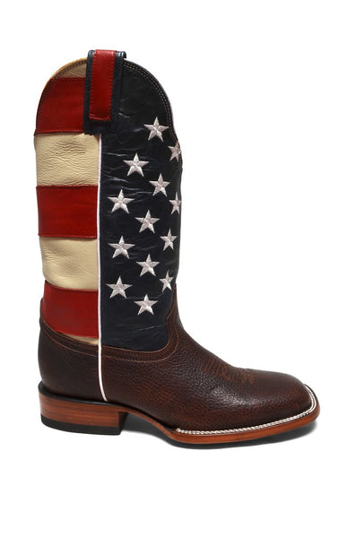 Women's Brown Square Toe Leather Western Boot REDHAWK 6176
