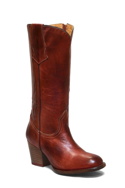Women's Rustic Wine Round Toe Leather Tall Boot REDHAWK 6252