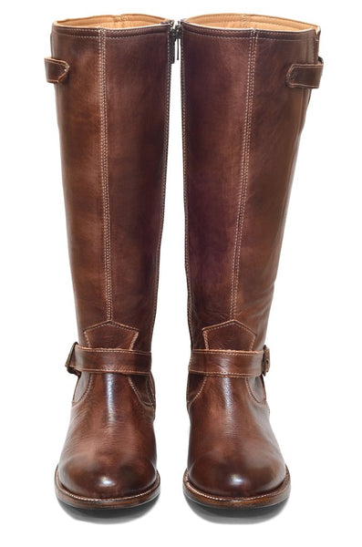 Women's Aged Brown Round Toe Leather Tall Boot REDHAWK 6253