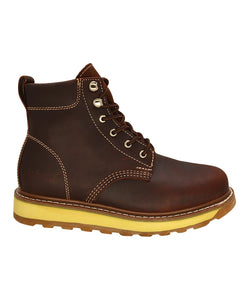 Burgundy Plain Toe 6-Inch Leather Boots REDHAWK 642