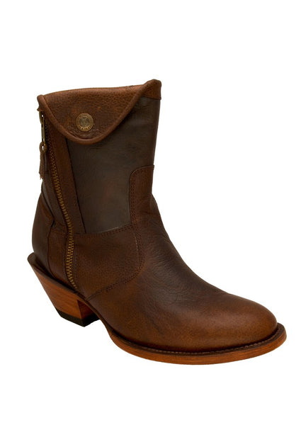 Women's Brown Round Toe Leather Short Bootie REDHAWK 7605
