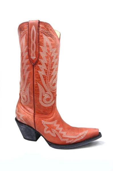 Women's Crater Red Cowgirl Western Snip Toe Leather Boot REDHAWK 37104
