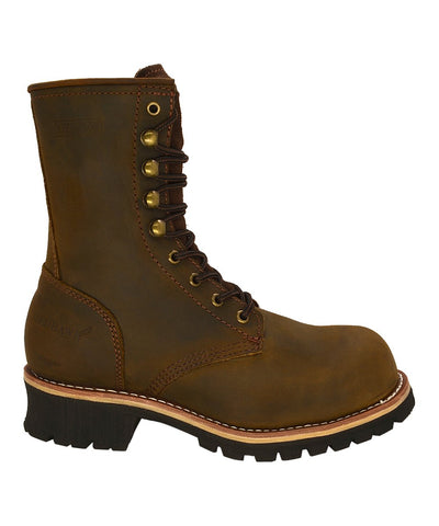 "Brown 9"" Steel Toe Leather Logger Boot REDHAWK ST901"