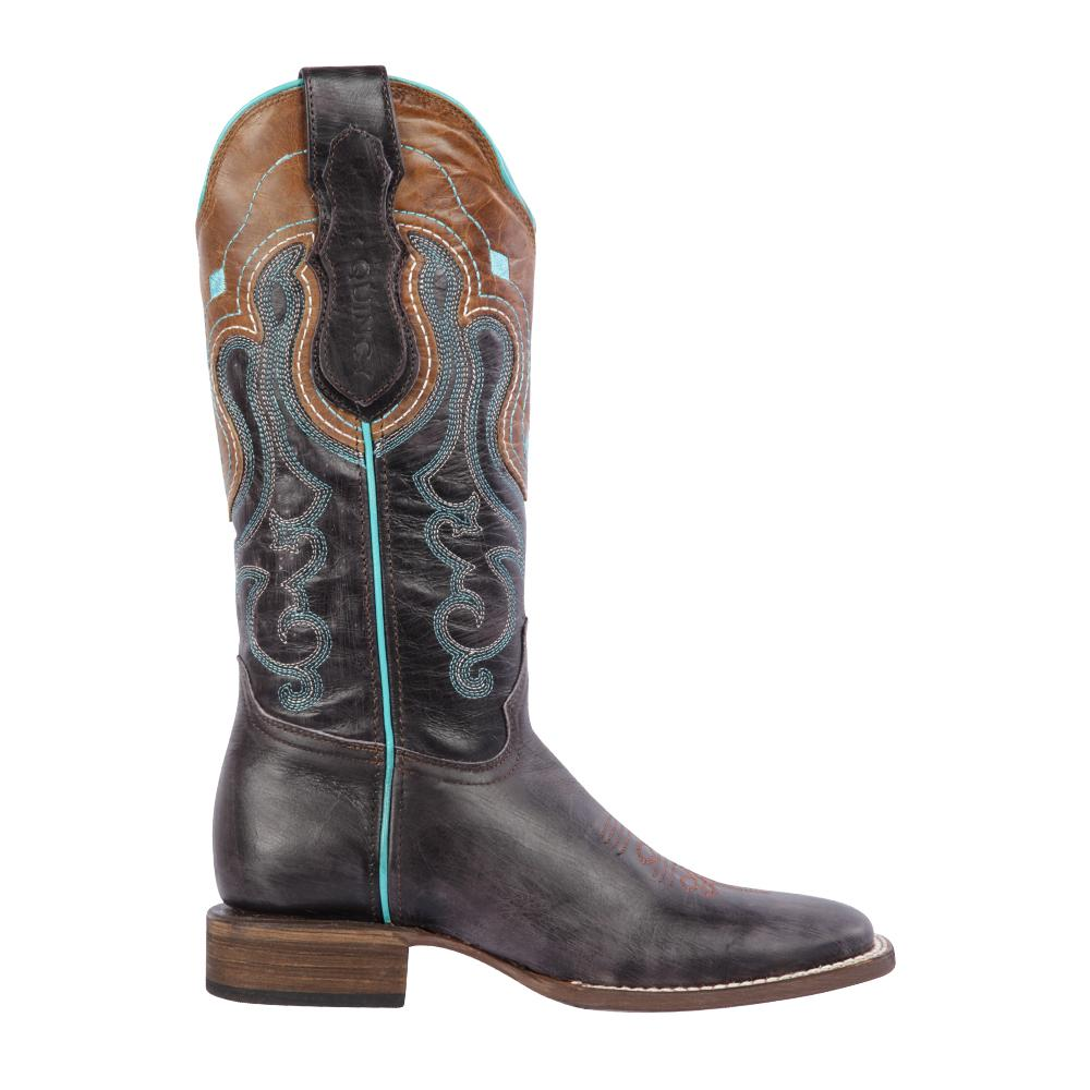 Women's Gray Cowgirl Western Ranch Toe Quincy Boots Q3225409