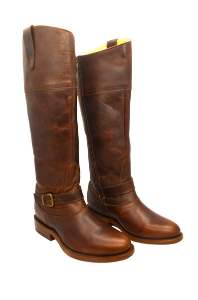 Women's Cognac Cowgirl Western Leather Riding Boot REDHAWK 6143