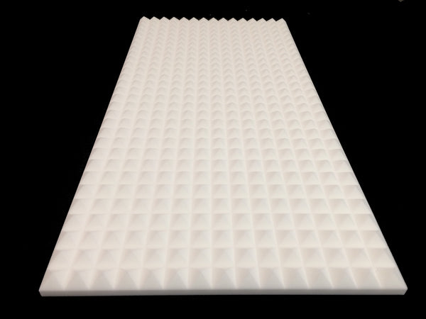 Mel-Acoustic Pyramid 40mm White Melamine Acoustic Foam Panel 600x1200 - Advanced Acoustics