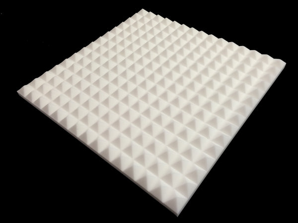 Mel-Acoustic Pyramid 40mm White Melamine Acoustic Foam Panel 600x600 - Advanced Acoustics