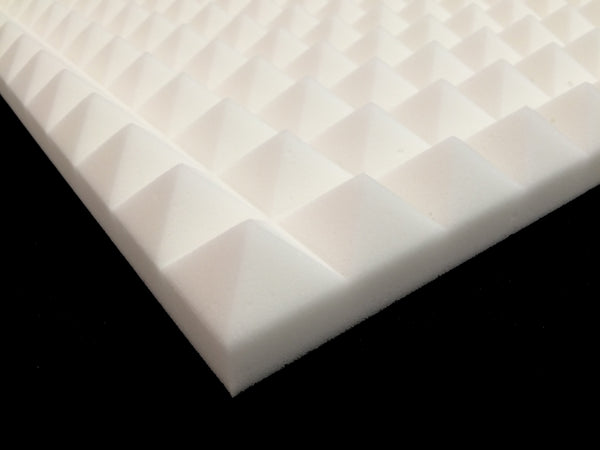 Mel-Acoustic Pyramid 40mm White Melamine Acoustic Foam Panel 600x600 Pack Of 10 - Advanced Acoustics