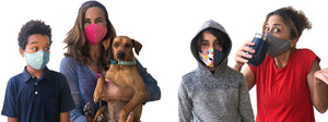 Four happy people wearing organic cotton face masks from BringIt! Masks and a dog.