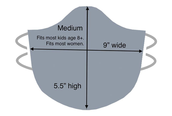 medium mask size diagram