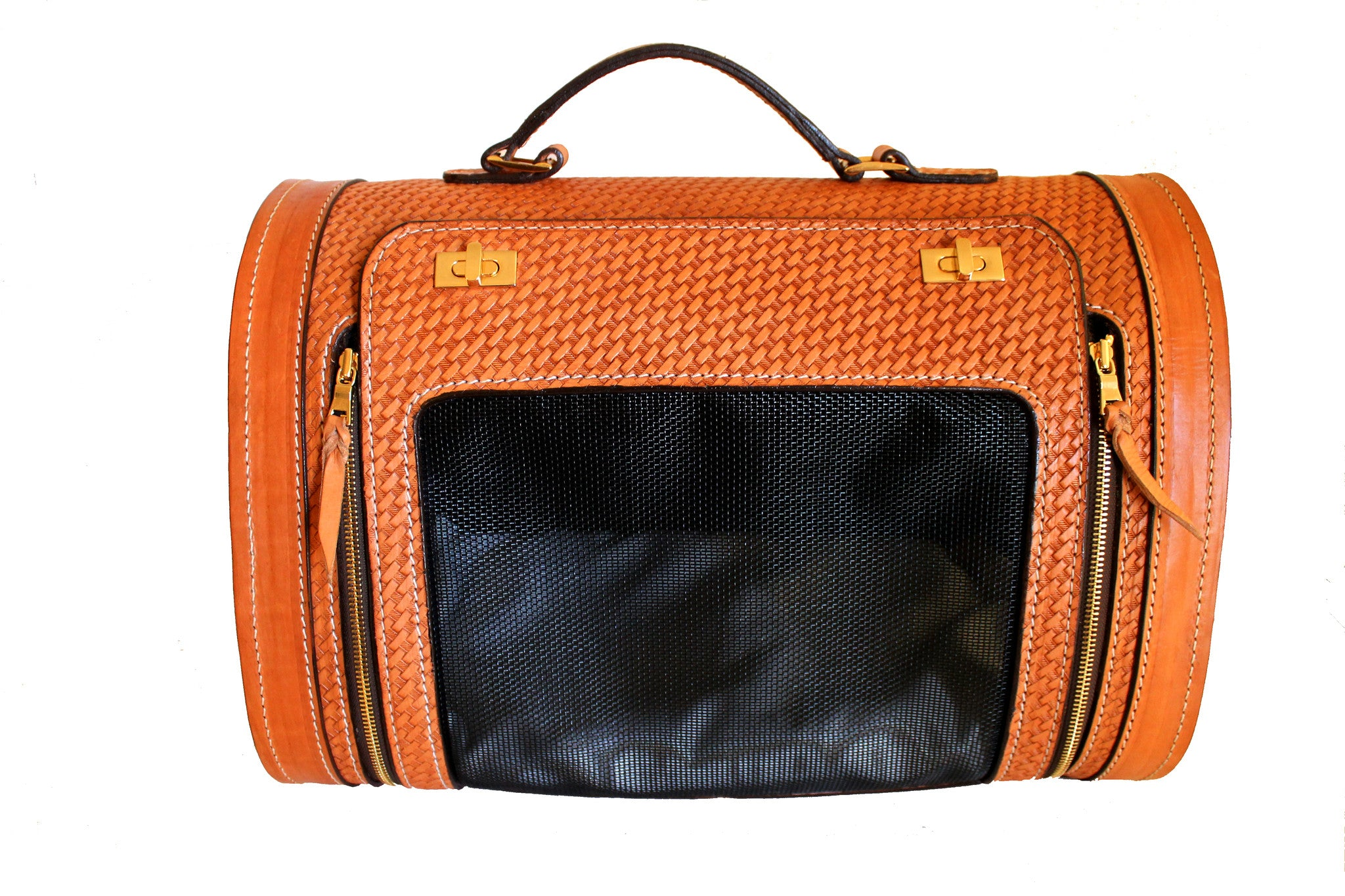 Tan Woven Leather Pet Carrier