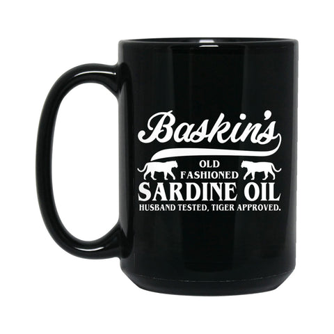 Baskin's Sardine Oil  15 oz. Coffee Mug (Black)