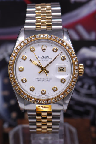 [SOLD] ROLEX OYSTER PERPETUAL DATEJUST DIAMOND BEZEL HALF-GOLD Ref : 16013 (NEAR MINT)