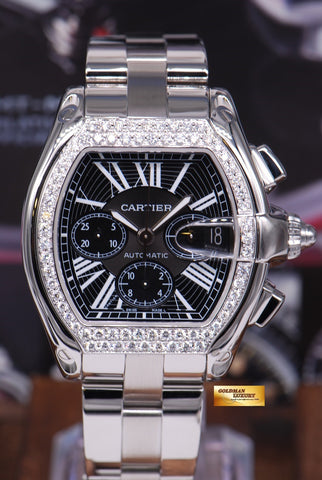 CARTIER ROADSTER MENS XL CHRONOGRAPH BLACK w/ CUSTOM DIAMONDS AUTOMATIC (MINT)