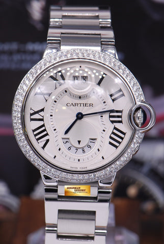 [SOLD] CARTIER BALLON BLEU GMT BIG DATE CUSTOM DIAMONDS QUARTZ (MINT)
