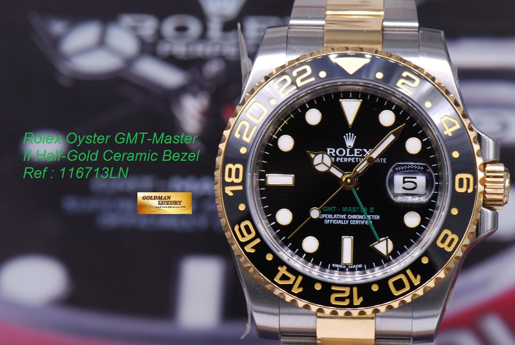 d4c04aa4f SOLD] ROLEX OYSTER PERPETUAL GMT-MASTER II HALF-GOLD Ref 116713LN ...
