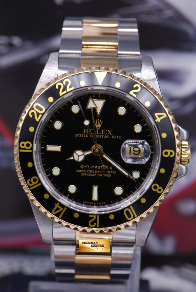 ca08d3bde SOLD] ROLEX OYSTER PERPETUAL GMT-MASTER II HALF-GOLD BLACK Ref ...