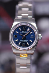 ROLEX OYSTER PERPETUAL 26mm LADIES BLUE 176200 (MINT)
