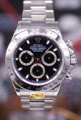 ROLEX OYSTER PERPETUAL DAYTONA STAINLESS STEEL CHRONOGRAPH BLACK Ref : 116520 (MINT)