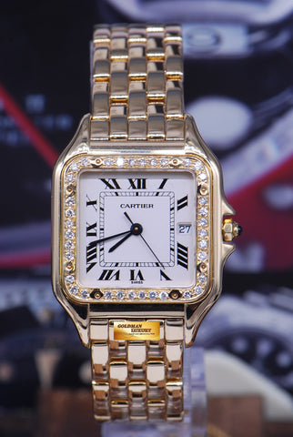 [SOLD] CARTIER PANTHERE MIDSIZE 18K YELLOW GOLD DIAMOND QUARTZ 106000M (MINT)