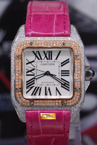 [SOLD] CARTIER SANTOS 100 MIDSIZE LADIES HALF-GOLD FULL DIAMONDS AUTOMATIC (MINT)