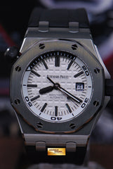 [SOLD] AUDEMARS PIGUET OFFSHORE DIVER SEE-THRU DISPLAY BACK WHITE AUTOMATIC 15710ST (LNIB)