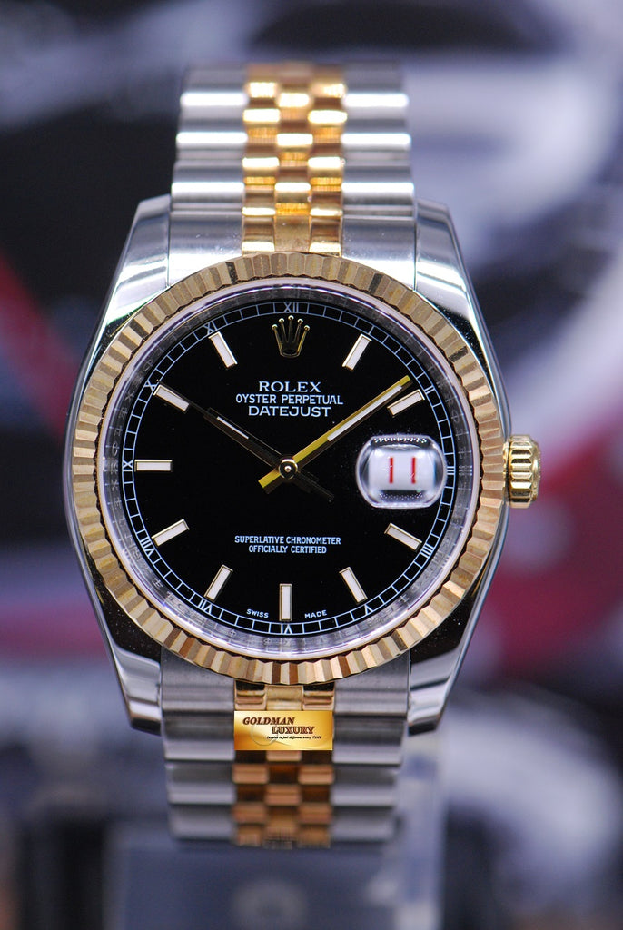 Sold Rolex Oyster Perpetual Half Gold Datejust Black