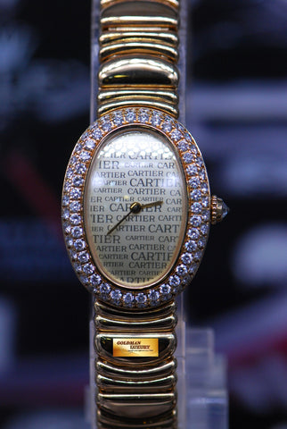 [SOLD] CARTIER BAIGNOIRE 18K YELLOW GOLD DIAMONDS QUARTZ (MINT)