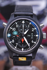 IWC PILOT'S DOUBLE CHRONOGRAPH TOP GUN SERIES CERAMIC BLACK AUTOMATIC IW3799-01 (NEAR MINT)