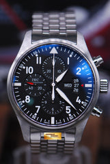 IWC PILOT'S CHRONOGRAPH STAINLESS STEEL BRACELET AUTOMATIC IW3777-04 (NEAR MINT)