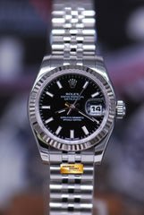 ROLEX OYSTER PERPETUAL DATEJUST 26mm STAINLESS STEEL BLACK 179174 (MINT)