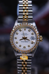 ROLEX OYSTER PERPETUAL DATEJUST 26mm LADIES DIAMOND DIAL & BEZEL WHITE 69173 (NEAR MINT)